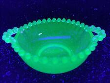 cobalt Blue Vaseline glass candlewick pattern Nappy Bowl dish uranium ice cream
