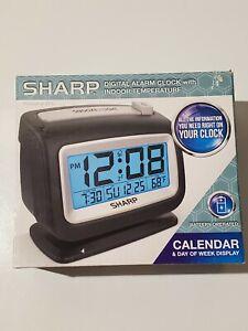 NEW Sharp Lighted Alarm Clock SPC293 with Indoor Temp Display & Date