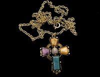 "VINTAGE Gold Celtic Cross Scottish Agate Glass Pendant 24"" Chain Necklace BOXED"