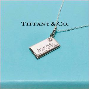 TIFFANY & Co Diamond Envelope Pendant Necklace Silver  w. Pouch