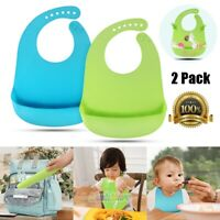 2x Comfortable Soft Baby Bib Easily Wipes Clean Silicone Feeding Bibs BPA Free