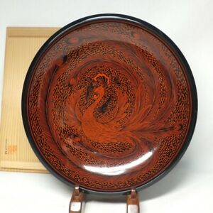 D1701: Japanese SANUKI lacquer ware bowl with great phoenix pattern of KINMA