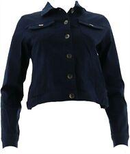 Susan Graver Stretch Twill Jean Jacket Vivid Turquoise L NEW A305883