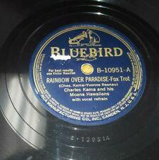 "CHARLES KAMA Rainbow Over Paradise / Sweet Kona Moonlight 10"" 78 Bluebird 10951"