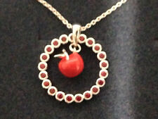 "DISNEY REBECCA HOOK SNOW WHITE APPLE STERLING SILVER 20"" NECKLACE * NEW"