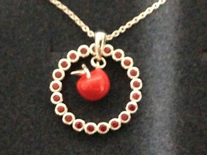 """DISNEY REBECCA HOOK SNOW WHITE APPLE STERLING SILVER 20"""" NECKLACE * NEW"""