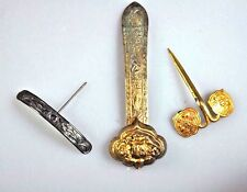 3 ANTIQUE CHINESE QING GILT SILVER LADY HAIRPIN HAIR PIN ORNAMENT CHINA 19H C