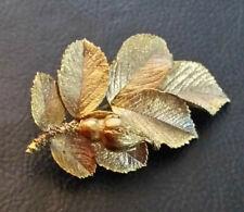 """Sterling Silver Brooch Rose Leaves FLORA DANICA Eggert Denmark 2.6"""" 16g 925 #427"""