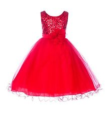 Wedding Glitter Sequin Tulle Flower girl Dress Toddler Bridesmaid Easter B-011NF
