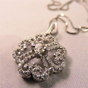 Designer Cluster Pendant Necklace SI1 G 1.35 Ct Round Cut Diamond 14K White Gold