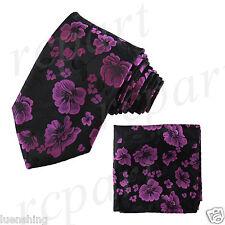 New Brand Q Men's Micro Fiber Neck Tie & Hankie Set Flowers Purple Black