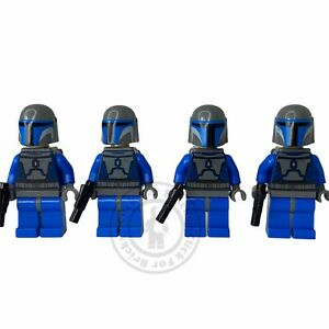 4 x LEGO Star Wars Mandalorian Death Watch Minifigures With Weapons & Jet Packs