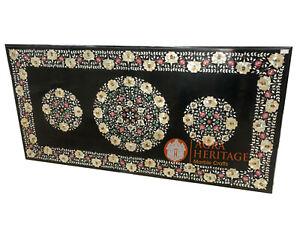 7'x4' Black Marble Big Dining Table Top Multi Inlay Gemstone Fine Design E1352