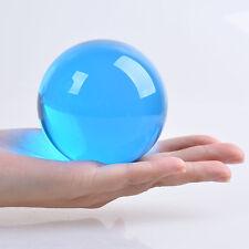 Light Blue 80mm Crystal Glass Healing Ball Feng Shui Ball Sphere Home Decor