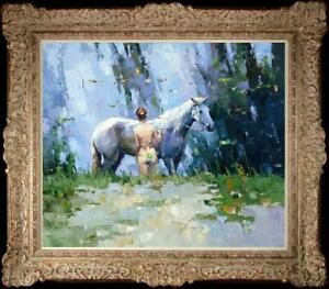 "Hand painted Oil painting original Art Landscape girl horse on canvas 20""x24"""