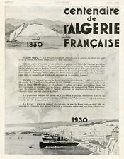 """""""CENTENAIRE ALGERIE FRANCAISE"""" Annonce originale entoilée ILLUSTRATION 2/3/1929"""