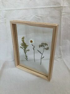 DOUBLE SIDED GLASS WOODEN PICTURE FRAME  - PRESSED FLOWERS, PHOTOS - 21CM X 26CM