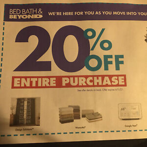Bed Bath & Beyond Coupon 20% off Entire Purchase In-store or online exp 4/1/2021