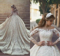 Gorgeous Lace Appliques Puffy Wedding Dress White/Ivory Long Sleeve Bridal Gown