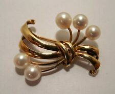 Tasaki - Japan - Akoya Pearls - Ribbon Design - 14K Yellow Gold - Brooch Pin