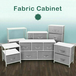 Fabric Chest of Drawers Storage Cabinet Unit Metal Frame Bedside End Table Gray