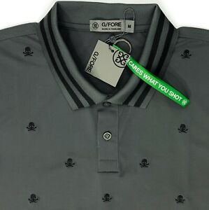 G Fore Grey Black Skull Embroidered Polo Shirt Polyester Spandex Men's M, L