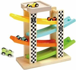 TOP BRIGHT Wooden Car Ramp Toys for 1 2 Year Old Boy Gifts, First Birthday Prese