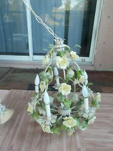 Vintage Tole Birdcage Chandelier 30 Yellow/White Porcelain Roses toleware italy