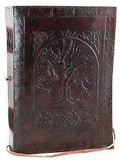 LEATHER JOURNAL WITH SKULL EMBOSSED AND METAL LOCK BLANK BIG HANDMADE DIARY