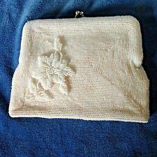 Vtg White Beaded Evening Bag Rose Design Ivory Kiss Lock Frame Mid-Century Purse