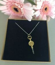 """More details for antique brass key no. 1 pendant necklace on new 20"""" silver 925 chain steam punk"""
