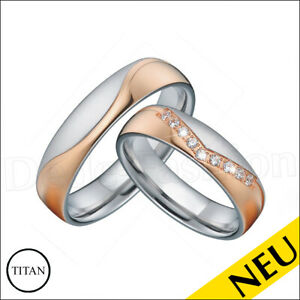 NEU 🌸 Eheringe TITAN Rosegold RING Bicolor ZIRKONIA Partnerringe 🌸 Trauringe