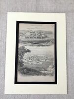 1880 Military Print Fortress Ancient Fort Fortifications Moat Antique Original