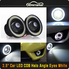 "2.5"" 64mm Car SUV White LED COB Halo Angel Eye Rings Fog Light Projector Lamp US"