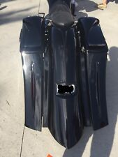 "Harley 6"" Down & Out 14"" Back Stretched SaddleBags overlay Fender 2009-13 FLH"