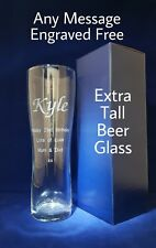 PERSONALISED ENGRAVED TALL PINT GLASS Inc GIFT BOX 18th 21St 25th BIRTHDAY GIFT