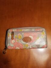 FOSSIL Coated Canvas Floral Print Zip Around Accordion Wallet EUC