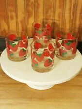 Set of 4 Vintage Colony Strawberry Red Green Drinking Rocks Glasses Tumblers