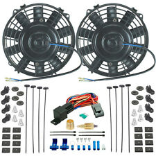 """TWIN 7"""" INCH ELECTRIC FANS 3/8"""" GROUNDING THERMO T-STAT SWITCH RACE CAR HOT-ROD"""