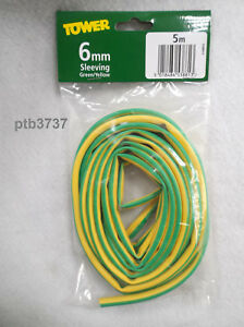 GREEN/YELLOW EARTH SLEEVING 6MM X 5M LENGTH BY TOWER