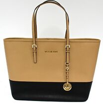 Michael Kors * Jet Set Saffiano Leather Tote Bag Suntan/Black COD PayPal