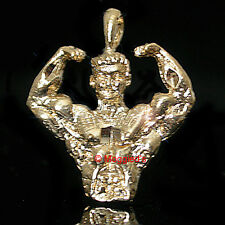 3D Weight Lifter|Muscle Man 14k GOLD Layered Charm / Pendant + LIFETIME GUARANTE