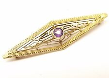 Antique 14K Gold Filigree Brooch Amethyst Pin Ornate Art Deco Wire Estate Vtg