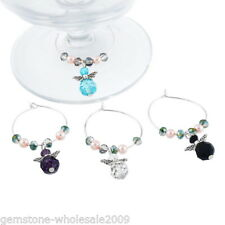 1Box Mixed Angel Christmas Glass Wine Charms Mark Ring Table Decorations ##