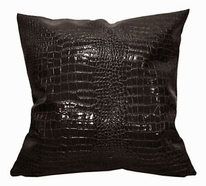 pd1002a Brown Faux Crocodile Glossy Leather Cushion Cover/Pillow Case*Custom Siz