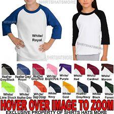 Youth 3/4 Sleeve Baseball T-Shirt Raglan Jersey Boys Girls Child Tee XS-XL NEW