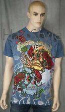 Christian Audigier Skull Roses T-Shirt Stones BLUE XL