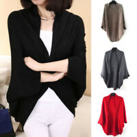 Women Winter Shawl Bat Long Sleeve Loose Knitted Sweater Cardigan Outwear Coat