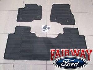 17 thru 20 Super Duty OEM Ford Rubber Mat Set 3-pc EXTENDED/CREW for VINYL FLOOR