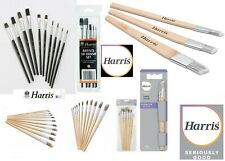 HARRIS ARTIST PAINT BRUSHES SET FLAT / ROUND / ANGLED FITCH HEAD HOBBY CRAFT DIY